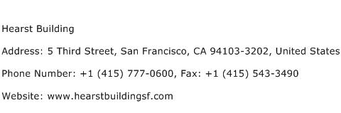 Hearst Building Address Contact Number