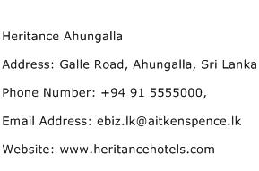 Heritance Ahungalla Address Contact Number