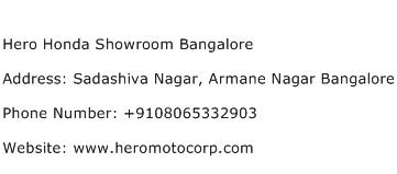 Hero Honda Showroom Bangalore Address Contact Number