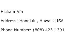 Hickam Afb Address Contact Number