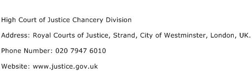 High Court of Justice Chancery Division Address Contact Number