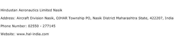 Hindustan Aeronautics Limited Nasik Address Contact Number
