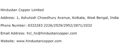 Hindustan Copper Limited Address Contact Number