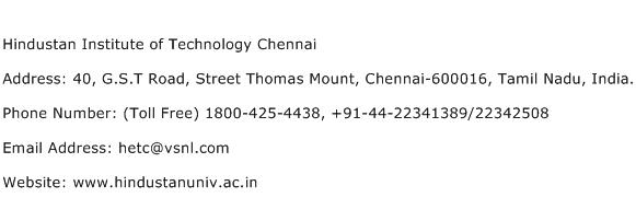 Hindustan Institute of Technology Chennai Address Contact Number