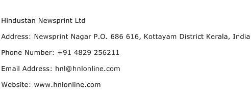 Hindustan Newsprint Ltd Address Contact Number
