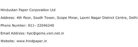 Hindustan Paper Corporation Ltd Address Contact Number