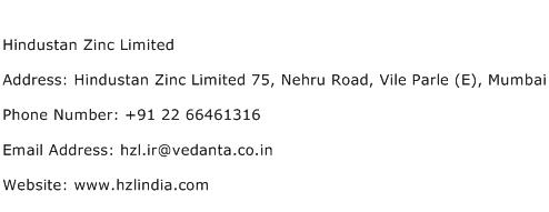 Hindustan Zinc Limited Address Contact Number