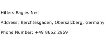 Hitlers Eagles Nest Address Contact Number
