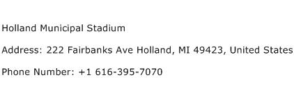 Holland Municipal Stadium Address Contact Number