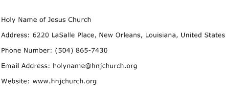 Holy Name of Jesus Church Address Contact Number