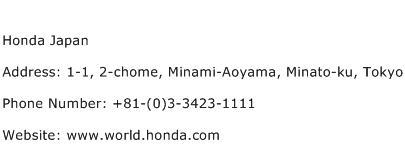 Honda Japan Address Contact Number