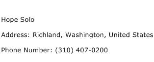 Hope Solo Address Contact Number