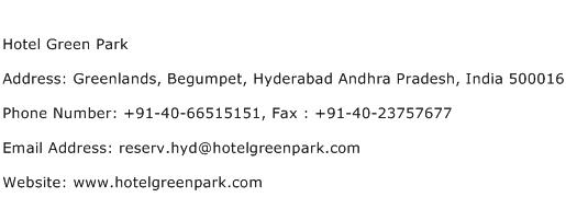 Hotel Green Park Address Contact Number