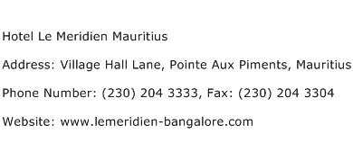 Hotel Le Meridien Mauritius Address Contact Number