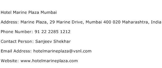 Hotel Marine Plaza Mumbai Address Contact Number