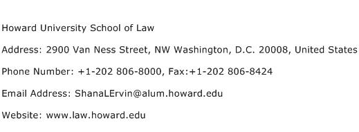 Howard University School of Law Address Contact Number