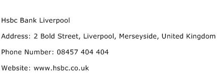Hsbc Bank Liverpool Address Contact Number