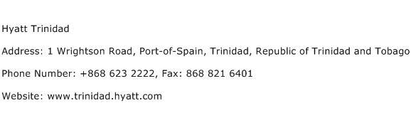 Hyatt Trinidad Address Contact Number