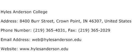 Hyles Anderson College Address Contact Number