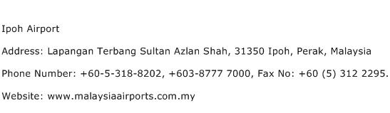 IPOH Airport Address Contact Number