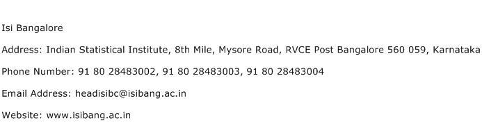 ISI Bangalore Address Contact Number