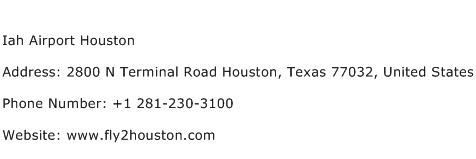 Iah Airport Houston Address Contact Number