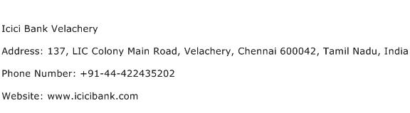 Icici Bank Velachery Address Contact Number