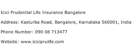 Icici Prudential Life Insurance Bangalore Address Contact Number