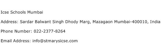 Icse Schools Mumbai Address Contact Number