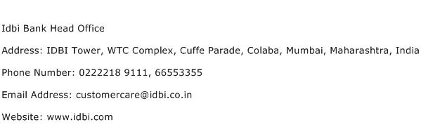 Idbi Bank Head Office Address Contact Number