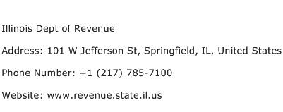 Illinois Dept of Revenue Address Contact Number