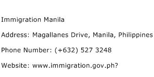 Immigration Manila Address Contact Number