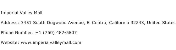 Imperial Valley Mall Address Contact Number