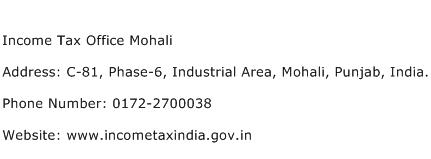 Income Tax Office Mohali Address Contact Number