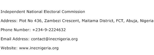 Independent National Electoral Commission Address Contact Number