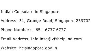 Indian Consulate in Singapore Address Contact Number