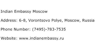 Indian Embassy Moscow Address Contact Number