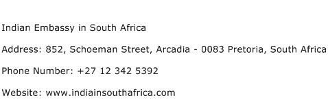Indian Embassy in South Africa Address Contact Number