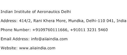 Indian Institute of Aeronautics Delhi Address Contact Number