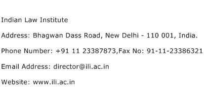 Indian Law Institute Address Contact Number