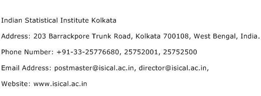 Indian Statistical Institute Kolkata Address Contact Number
