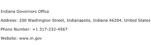 Indiana Governors Office Address Contact Number