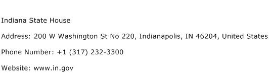 Indiana State House Address Contact Number