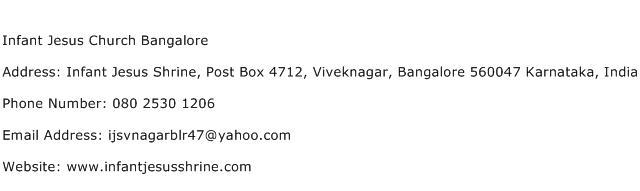 Infant Jesus Church Bangalore Address Contact Number