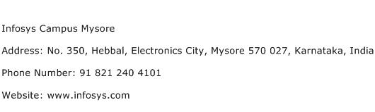 Infosys Campus Mysore Address Contact Number
