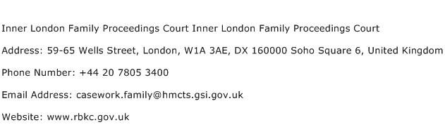 Inner London Family Proceedings Court Inner London Family Proceedings Court Address Contact Number