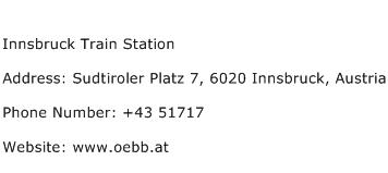 Innsbruck Train Station Address Contact Number