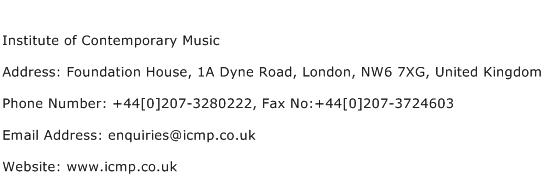 Institute of Contemporary Music Address Contact Number
