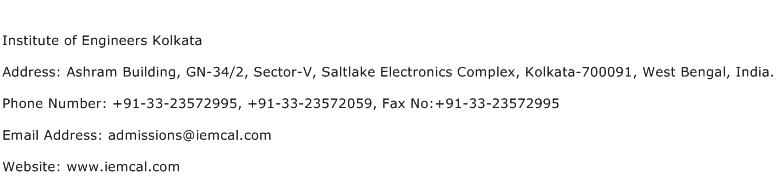 Institute of Engineers Kolkata Address Contact Number