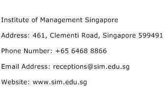 Institute of Management Singapore Address Contact Number